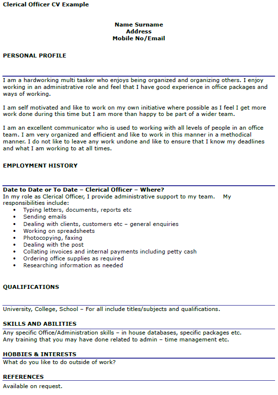 Clerical Officer Cv Example Icover Org Uk