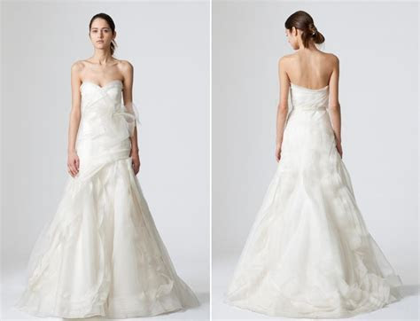 Simple white strapless Vera Wang wedding dress with