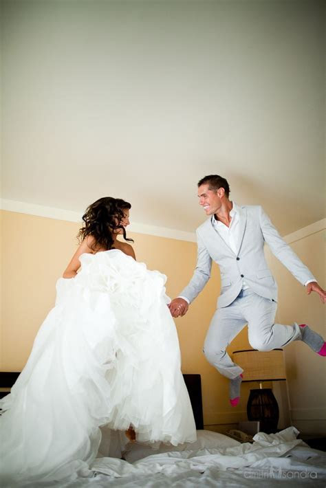 Jumping on the bed after the ceremony   so fun!   Wedding