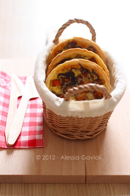 miniquiches con zucca, radicchio e cannella