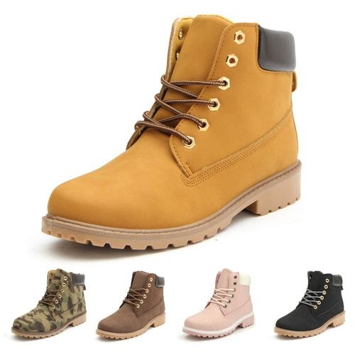 Universal Women's Leather Ankle Martin Boots High Top Waterproof Safety Work Shoes Flat