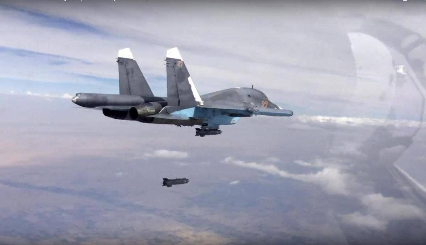 A Russian Su-34 strike fighter releases a bomb over Syria