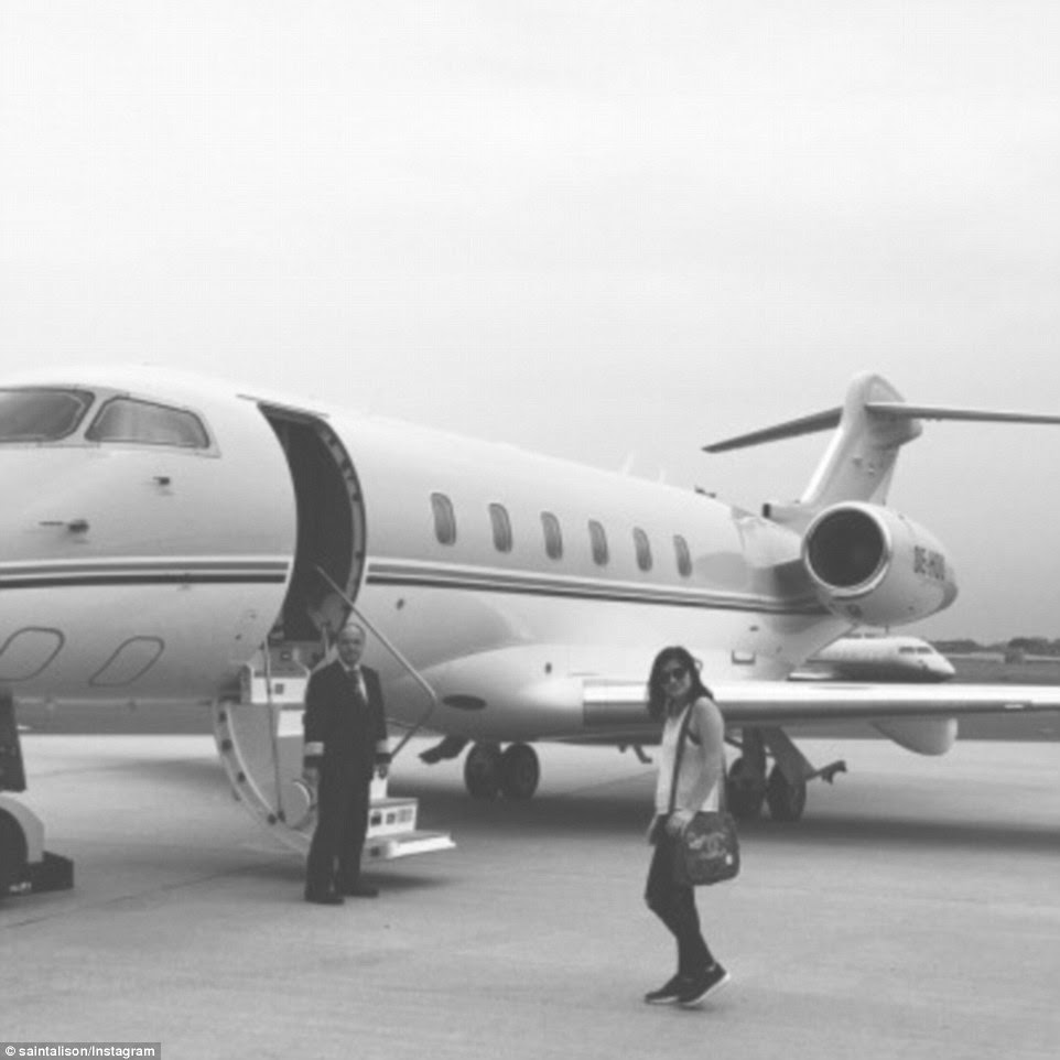 An exclusive flight was also the only way to fly for 19-year-old Alison Tong, who accompanied a picture of her walking on the tarmac to a private jet with hashtag 'the struggle is real'