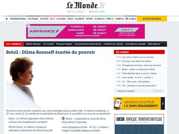 Le Monde considera que o afastamento é 'fim de jogo'  para Dilma Rousseff (Foto: Reprodução/G1)
