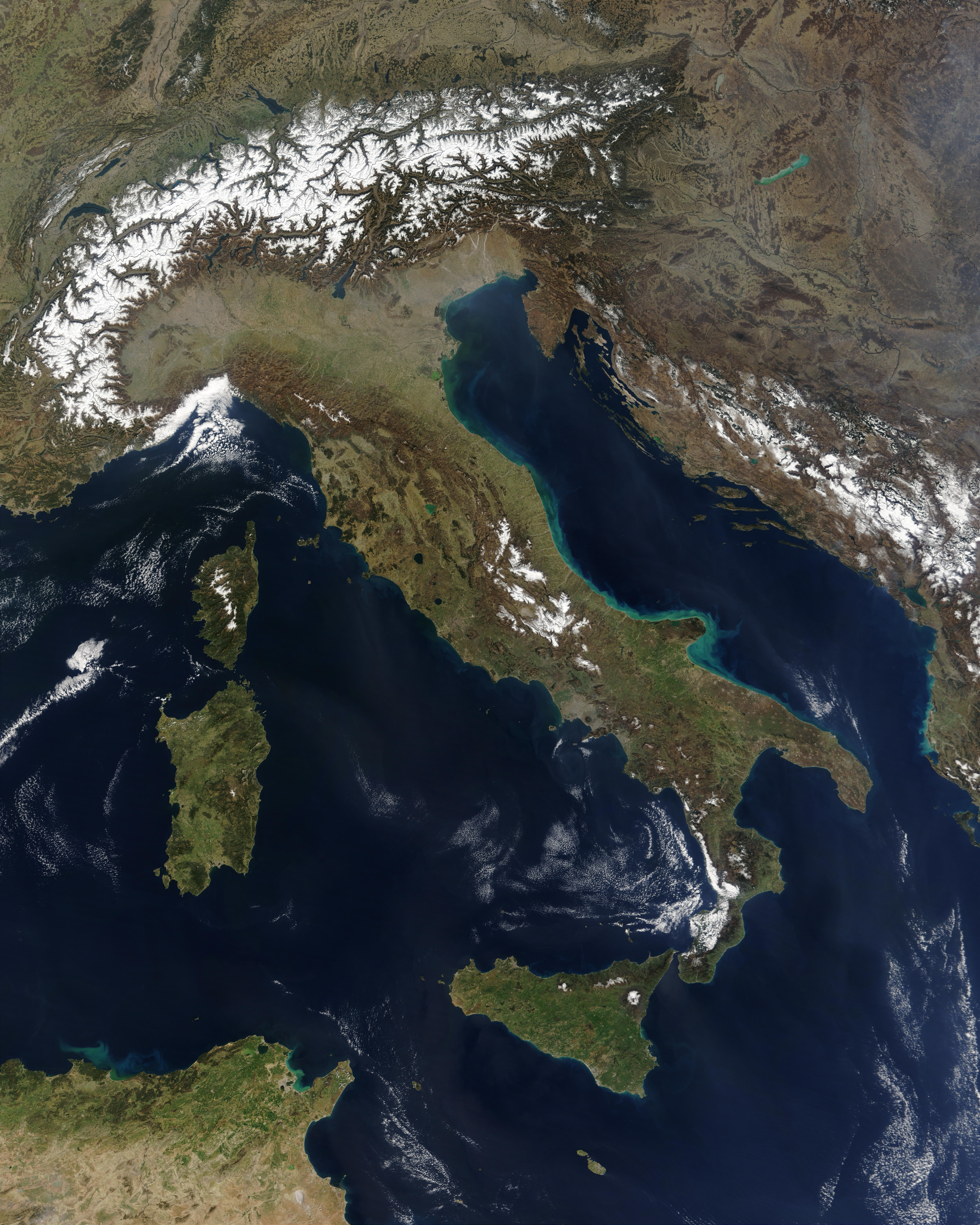 Jacques Descloitres: Satellite image of Italy in March 2003