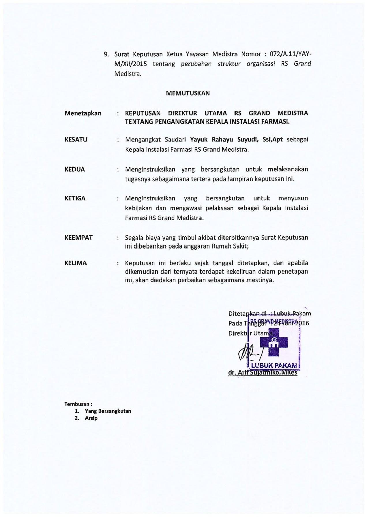 Contoh Surat Keputusan Struktur Organisasi Rumah Sakit