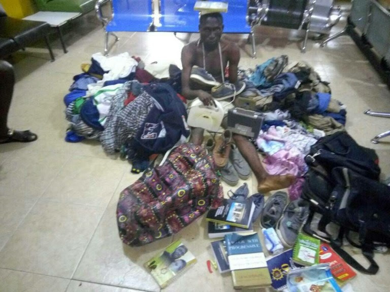 Extra Year Student Of Microbiology Department Paraded With The Items He Allegedly Stole at the School Hall (Photo)