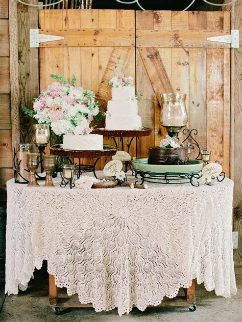 Vintage Wedding at Neverland Farms   Rustic cake tables