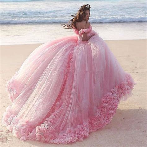 Puffy Pink Quinceanera Dresses Princess Cinderella Formal