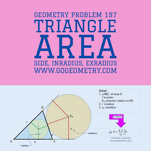 Problema de Geometría 197 (ESL): Área del Triangulo, Inradio, Exradio, Lado, Circunferencia Inscrita, Circunferencia Exinscrita. Ingles ESL.