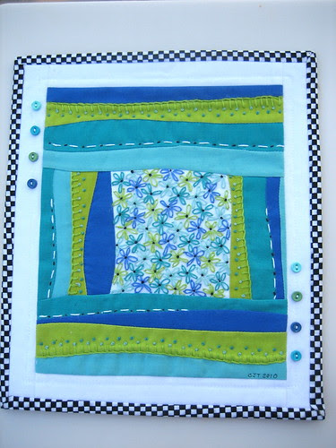 Buttons & Blooms - Mini Art Quilt #4