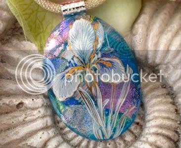 Blue Iris Garden Glass Pendant by CCValenzo