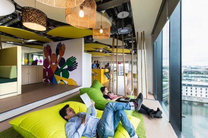 'Bean bag' seating, shown here, enables employees to kick back and relax while waiting for that next big idea to come.