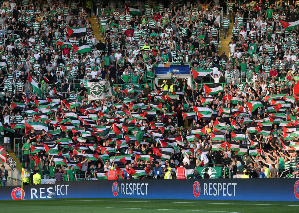 Celtic FC fans prominently displayed Palestinian flag on Wednesday during match against Israel's Hapoel Beer Sheva (Photo: Reuters)