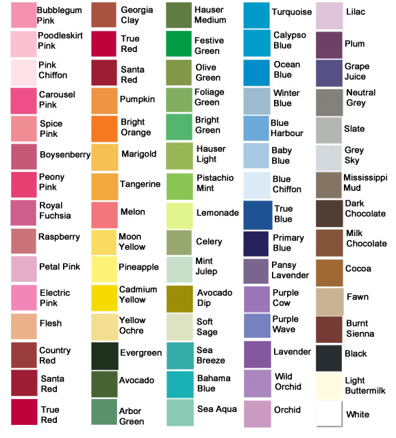 wall paint colours names 1