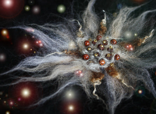 The GRAY SHEEP NEBULA - Needle Felted Wearable Art Brooch (XBY000-11)