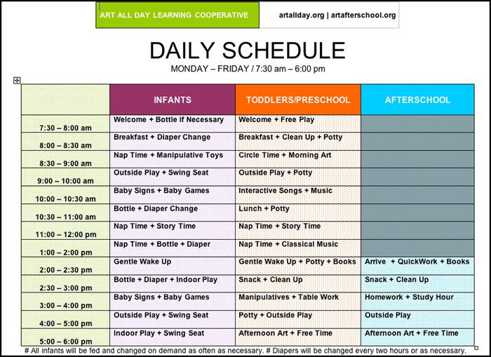 Daily Schedule For Daycare   Daily Agenda Calendar