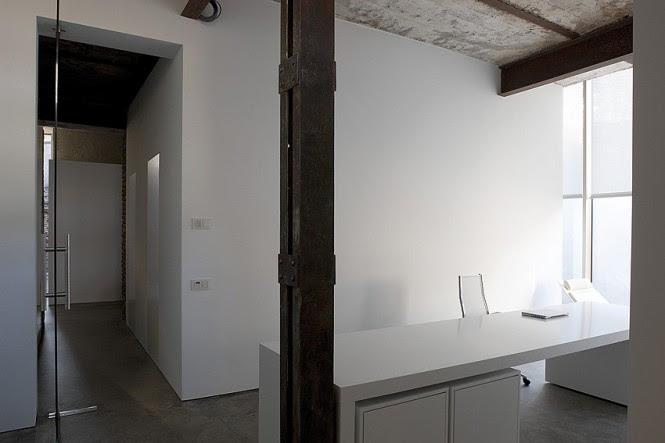 white home office desk area