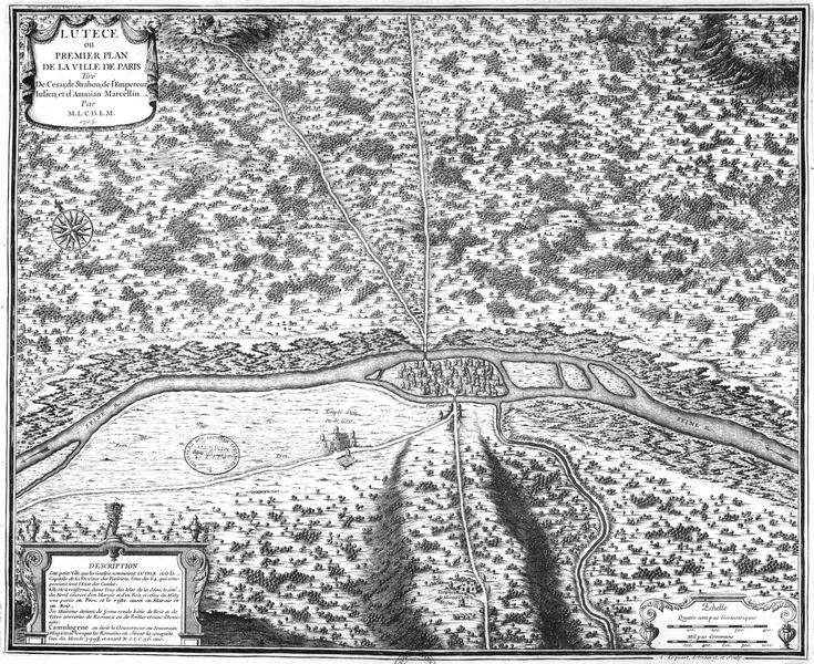 Одна из древних карт Лютеции (древний Париж)