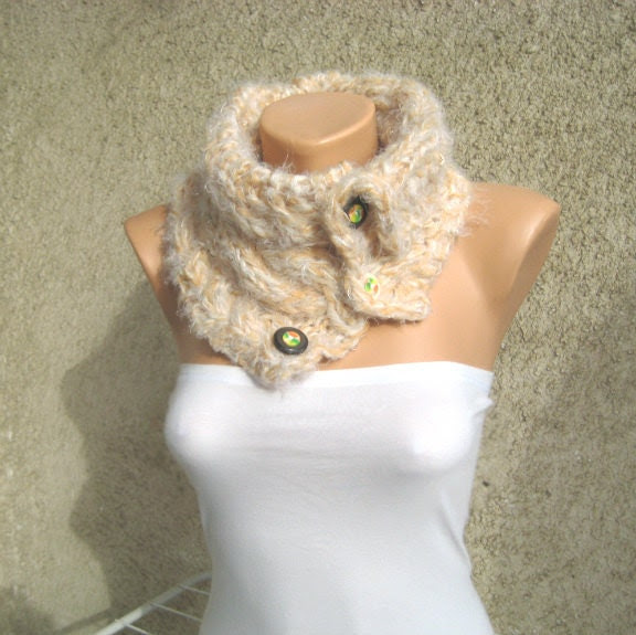 Cable Knit Cowl Neck warmer Neck collar Women Wool/Acrylic/Polyester/Lame Ivory Buttons Cuddly Handmade by Dimana