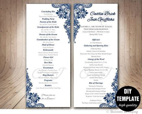 Navy Blue Wedding Program Template Instant Download by