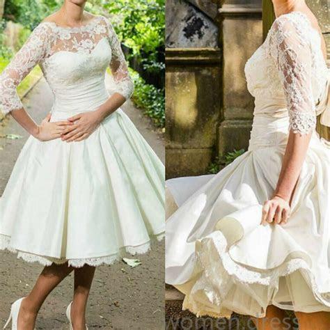 short  sleeve wedding dresses  vintage knee length