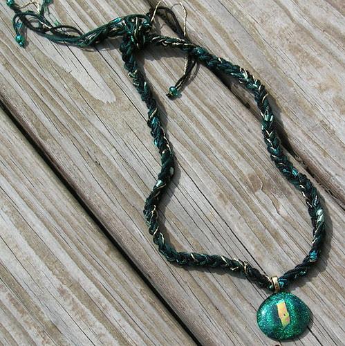 Golden Green Dichroic Glass & Fiber Necklace