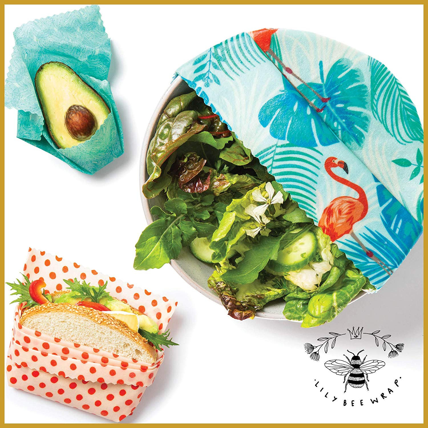 LilyBee Beeswax Wrap Reusable Food Wraps