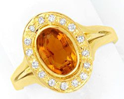 Original-Foto 1, DIAMANT-RING GELBGOLD, 1,8ct SPITZEN-CITRIN LUXUS! NEU!