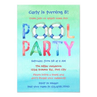 Watercolor Pool Party Birthday Invitation