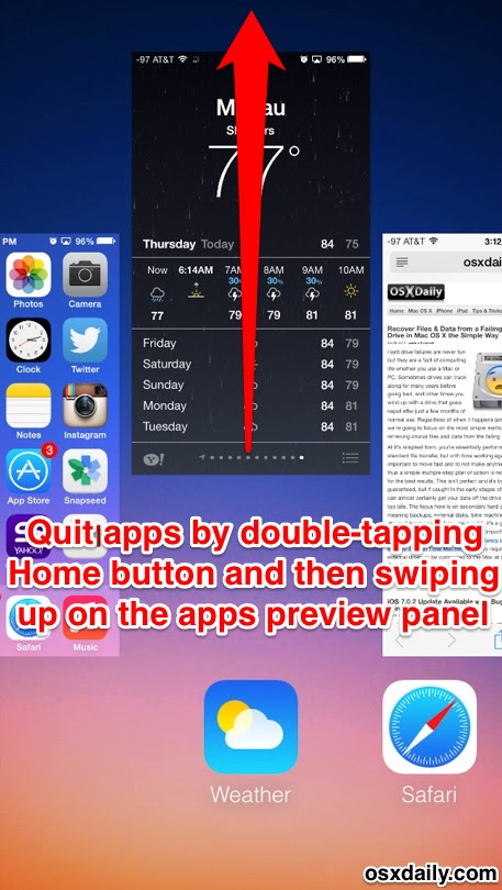 Quit apps in iOS 7 with a swipe up gesture
