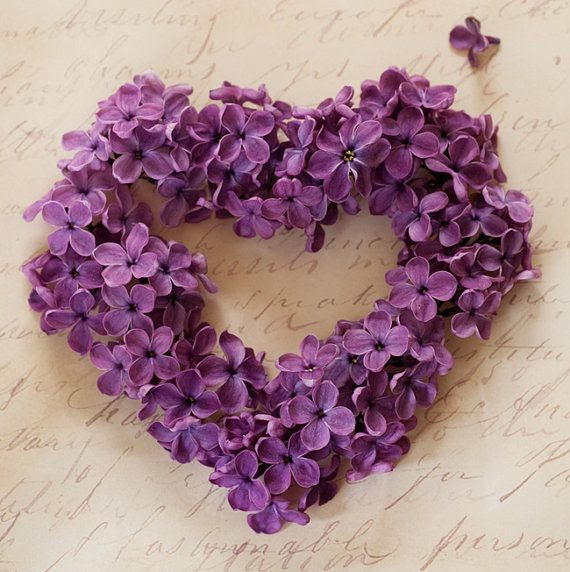 violet heart wreath