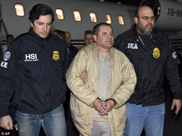 El Chapo, 60, (pictured as he was extradited to the US from Mexico in January) is going insane in jail, according to his lawyers