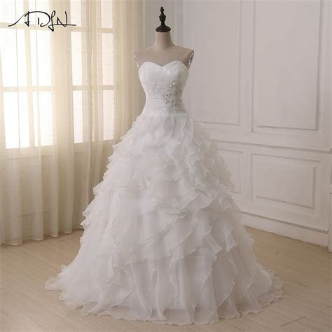 ADLN Cheap A line Wedding Dress 2018 White/ Ivory Corset
