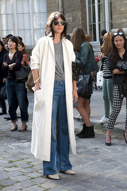 Le Fashion Blog Street Style Pfw Aviator Sunglasses White Maxi Jacket Grey Tee Wide Leg Jeans Pointy Toe Textured Boots Via Popsugar