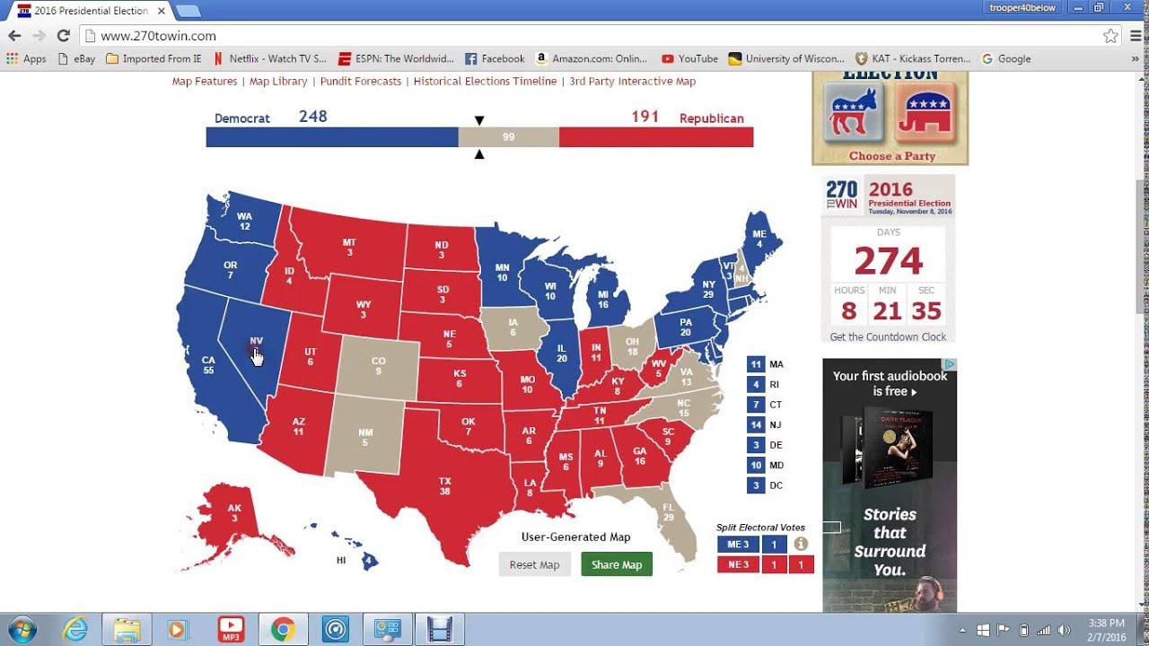 Electoral College Map 2016 Democrat Candidate Vs