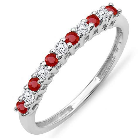14K White Gold Round Ruby And White Diamond Stackable