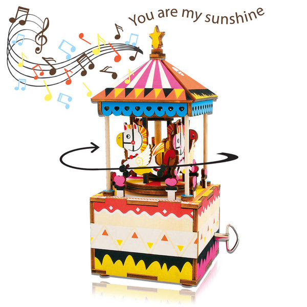 Diy 3d Wooden Puzzle Music Box Merry Go Round Little Craft Place