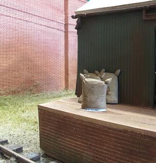 Sacks outside shed