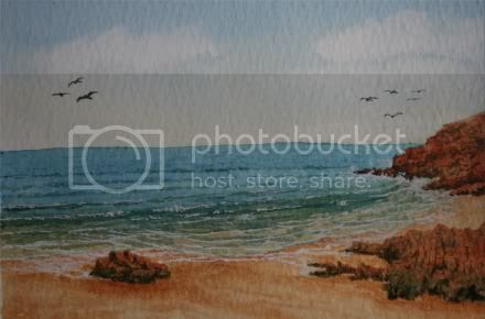 Quiet Beach - Original Watercolour (c) www.artyman.co.uk