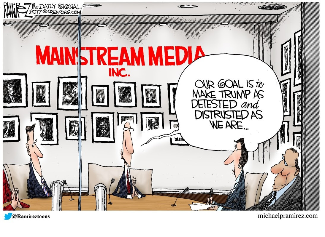 Image result for Trump and the media cartoons