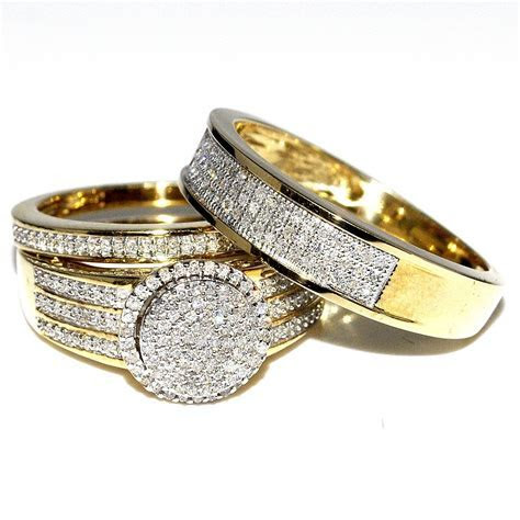 His and Her Bridal Rings Set Trio 0.65ct 10K Yellow Gold