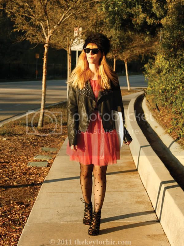 faux fur cossack, Forever 21 studded moto jacket, ballerina dress, Aldo wedges, Los Angeles fashion blogger