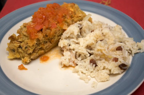 lentil-and-nut-loaf and jarocho rice