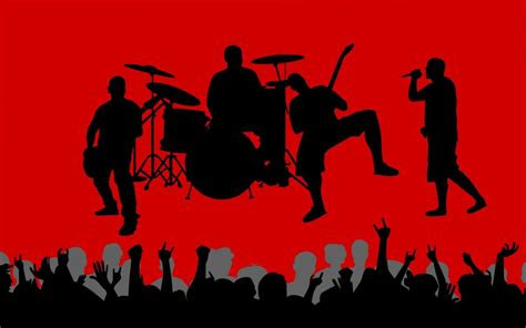 vectors shadows crowd band red background wallpaper