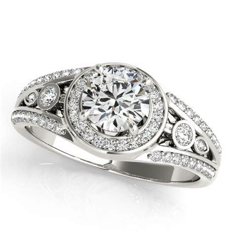 Vintage Wide Band Halo Diamond Engagement Ring 14k White
