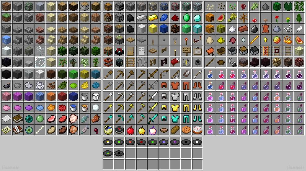 Id предметов в майнкрафт id всех предметов блоков зелий и мобов в майн