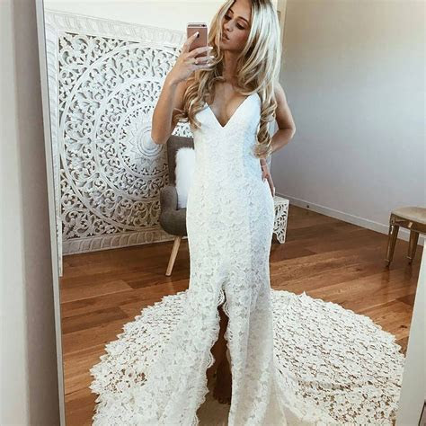 Mermaid Spaghetti Straps Backless Beach Lace Wedding Dress