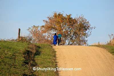 Amish Girl and Boy Walking on Gravel Road, Vernon County, Wisconsin