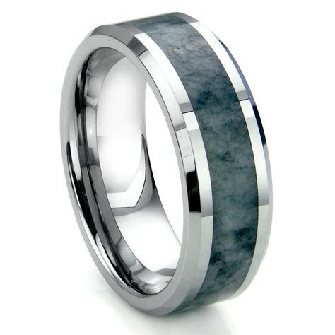 Tungsten Carbide Grey Metamorphic stone Inlay Beveled